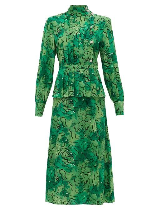 Alessandra Rich - Crystal-button Rose-print Pleated Silk Dress - Womens - Green Print