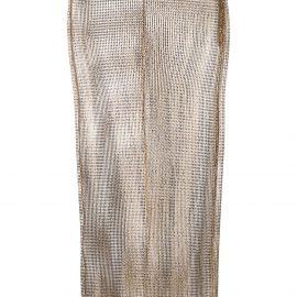 Alessandra Rich rhinestone midi skirt - GOLD