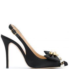 Alessandra Rich slingback bow detail pumps - Black