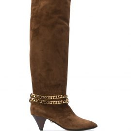 Alevì Camille chain-embellished knee-high boots - Brown