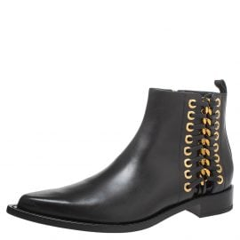 Alexander McQueen Black Leather Rivet Biker Eyelet Detail Ankle Boots Size 41