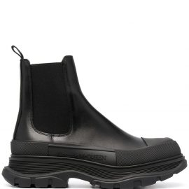 Alexander McQueen Man Black Chelsea Ankle Boot In Leather And Rubber