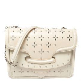 Alexander McQueen Off White Leather Studded Lucite Heroine Shoulder Bag