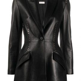 Alexander McQueen Stapled leather blazer - Black