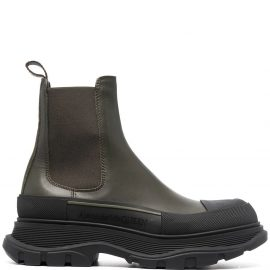 Alexander McQueen Woman Military Green Chelsea Ankle Boot In Leather And Rubber