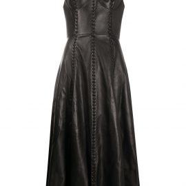 Alexander McQueen bustier top flared midi dress - Black