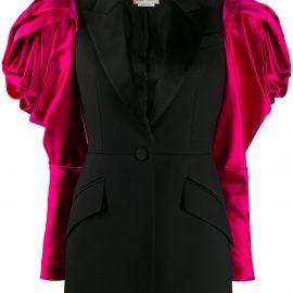 Alexander McQueen exaggerated shoulder single-breasted blazer - Black