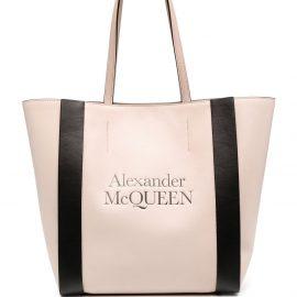 Alexander McQueen logo print shoulder bag - Pink