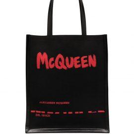 Alexander McQueen logo print tote bag - Black