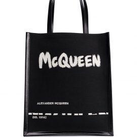 Alexander McQueen painterly logo print tote - Black
