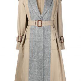 Alexander McQueen panelled mid-length trench coat - Black