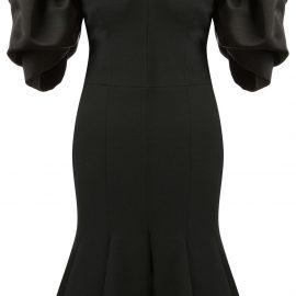 Alexander McQueen peplum hem off-shoulder dress - Black