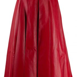 Alexander McQueen pleated leather midi skirt - Red