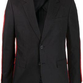 Alexander McQueen side-stripe blazer - Black