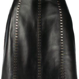 Alexander McQueen stapled leather mini skirt - Black
