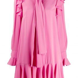 Alexander McQueen tie-neck ruffle dress - PINK