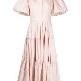 Alexander McQueen tiered flared midi dress - Neutrals
