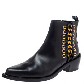 Alexander Mcqueen Black Leather Braided Chain Chelsea Boots Size 36