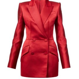 Alexander Mcqueen - Double-breasted Silk-satin Suit Jacket - Womens - Red