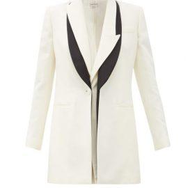 Alexander Mcqueen - Double-lapel Wool-blend Twill Jacket - Womens - Ivory Multi