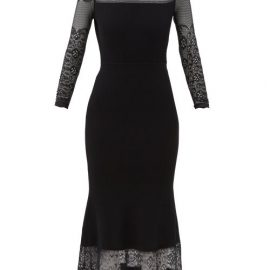 Alexander Mcqueen - Lace And Ribbed-ottoman Midi Dress - Womens - Black