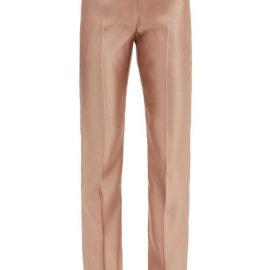 Alexander Mcqueen - Mid-rise Silk-satin Straight-leg Trousers - Womens - Light Gold