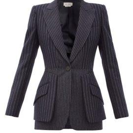 Alexander Mcqueen - Peplum Pinstriped Wool Jacket - Womens - Navy