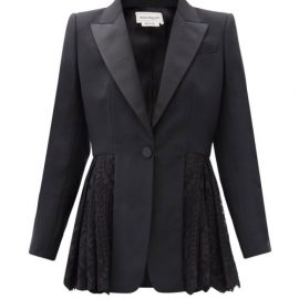 Alexander Mcqueen - Single-breasted Lace-peplum Wool-blend Blazer - Womens - Black
