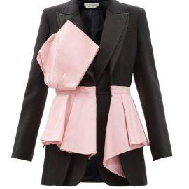 Alexander Mcqueen - Single-breasted Panelled Peplum Wool-blend Jacket - Womens - Black Multi