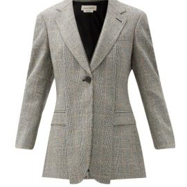Alexander Mcqueen - Single-breasted Prince Of Wales-check Jacket - Womens - Grey Multi