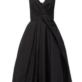 Alexander Mcqueen - Sweetheart-neck Pleated Cotton-blend Dress - Womens - Black