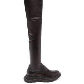 Alexander Mcqueen - Tread Leather Over-the-knee Boots - Womens - Black