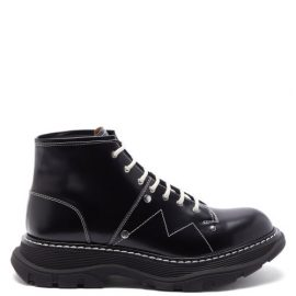 Alexander Mcqueen - Tread Topstitched Leather Boots - Mens - Black