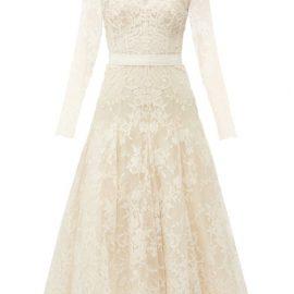 Alexander Mcqueen - V-neck Sarabande-lace Midi Dress - Womens - Ivory