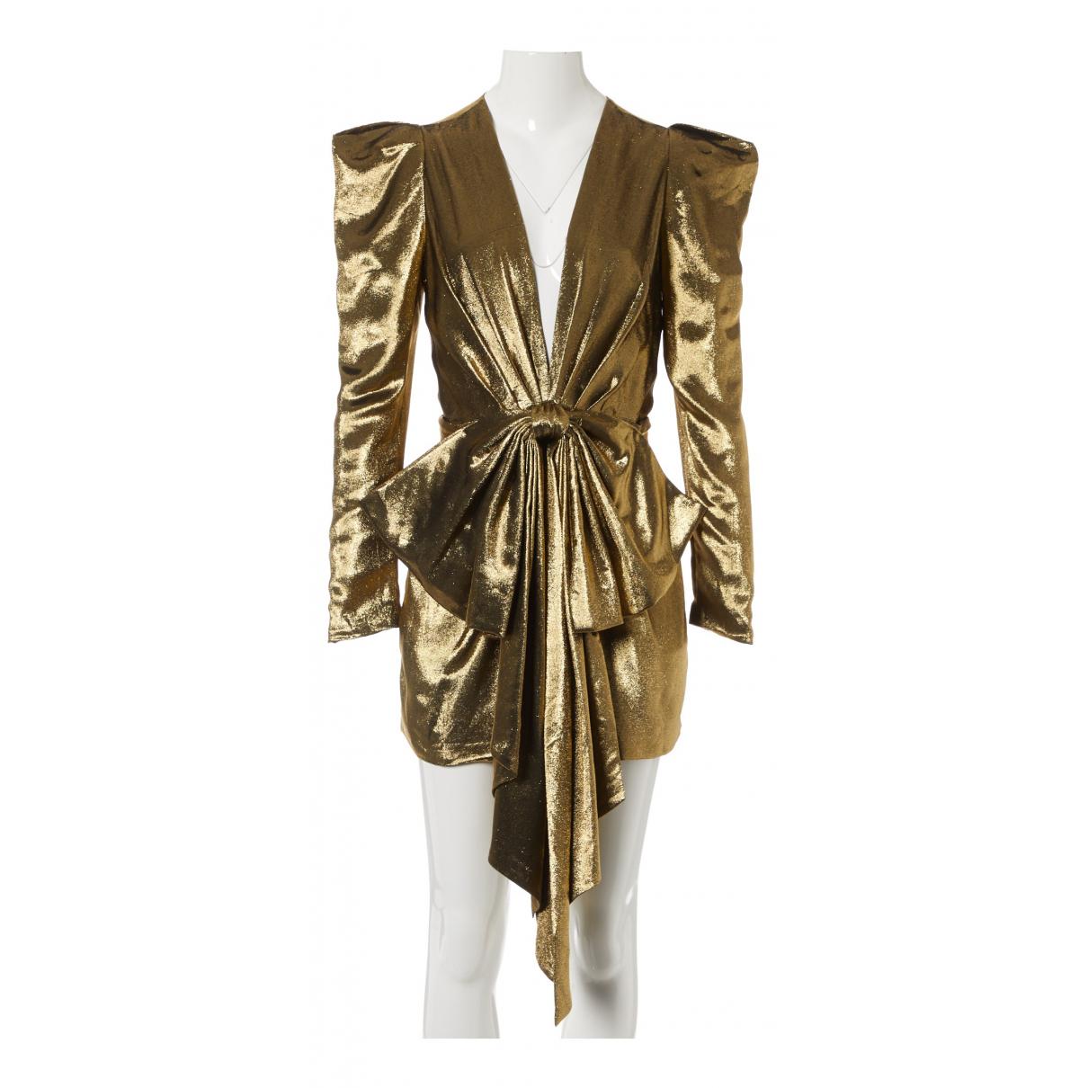 Alexandre Vauthier N Gold Silk Dress for Women
