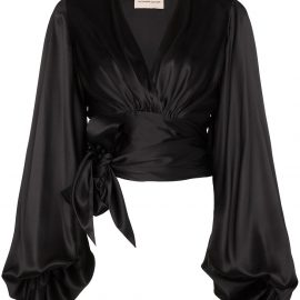 Alexandre Vauthier balloon-sleeve tie-side blouse - Black