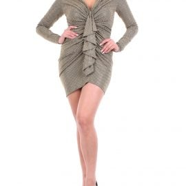 Alexandre Vauthier military green and gold short dress with applications