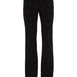 Altuzarra - Flocked Paisley-print Wool-blend Trousers - Womens - Black