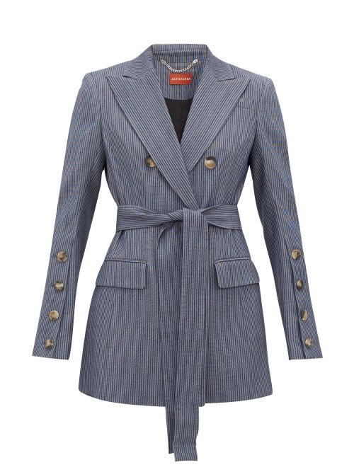 Altuzarra - Striped Double-breasted Wool-blend Jacket - Womens - Blue
