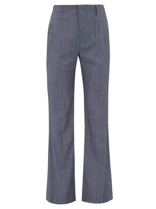 Altuzarra - Zeke Striped Wool-blend Trousers - Womens - Blue