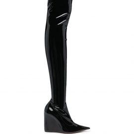 Amina Muaddi Danielle thigh-high glossy boots - Black