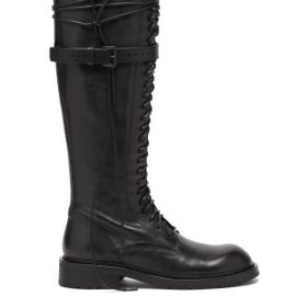 Ann Demeulemeester - Danny Wraparound-lace Leather Knee-high Boots - Womens - Black