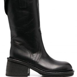 Ann Demeulemeester block heel calf-length boots - Black