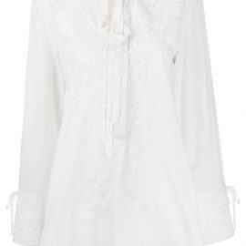 Ann Demeulemeester embroidered floral blouse - White