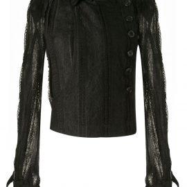 Ann Demeulemeester sheer lace panel blouse - Black