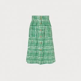 Annelin Painterly Check Green Midi Skirt Green White, Green White