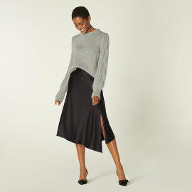 Antonia Black Satin Asymmetric Skirt, Black