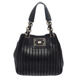 Anya Hindmarch Black Leather and Suede Belvedere Shoulder Bag