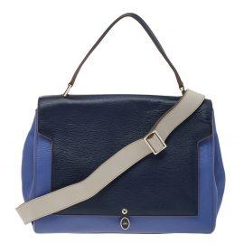 Anya Hindmarch Blue Leather Bathurst Top Handle Bag