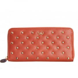 Anya Hindmarch Joss Orange Leather purse / wallet with studs